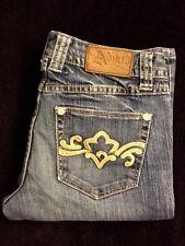 """""""Cute"""" Women's Adiktd Jeans Med Wash Leather Details On Pocket SZ 0/33 Waist 26"""""""