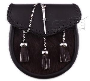 Scottish Mens Black Kilt Sporran With Pin Lock & Tassels LI-SCO-0060
