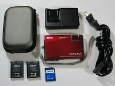 Nikon COOLPIX S60 10.0MP Digital Camera - Crimson Red - Touchscreen - Bundle