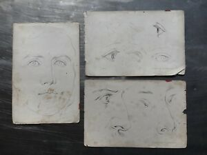 LOT X3 ANTIQUE LITHOGRAPH FACIAL STUDIES BY WILHELM HERMES BERLIN DRUCK VERLAG