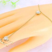 Fashion Women Rhinestone Crystal Gold Plated Ring Bracelet Punk Sexy Jewelry