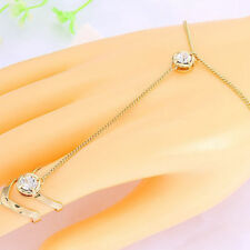 Fashion Women Rhinestone Crystal Gold Plated Ring Bracelet Punk Sexy Jewelry