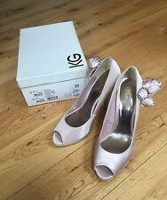 Carvela Kurt Geiger Nude Platform Peep Toe Heels Shoes Size 39 Wedding Bridal