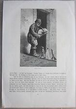 1880ca ZAMPOGNARO xilografia Engelhorn Napoli Campania musica zampogna