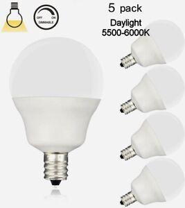 5 PK - LED E12 5W (40w) E12 LED Daylight (5500-6000k) Dimmable Bulbs