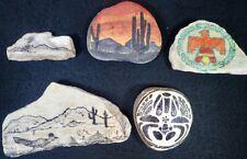 lot of (5) vintage Folk Art Painted Rocks Southwestern Designs Roadrunner Cactus