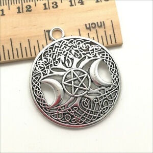 2/10/20 Moon Pentacle Antique Silver Charms Pendants for Jewelry Making 39*34mm