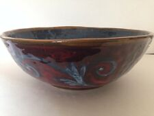 "Italian Ceramic Centerpiece Bowl Hand Painted Red And Blues 13"" Dia X 4.75"" H"