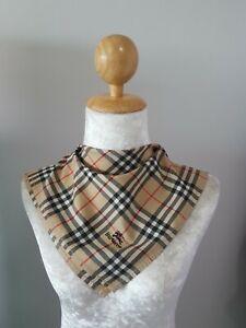 """BurberryUnisex Beige Signature Plaid Checks Cotton Square Handkerchief 17"""""""
