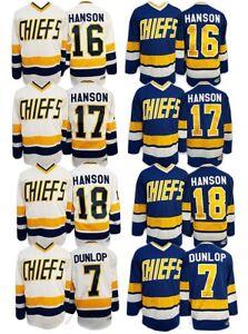 Hanson Brothers #16 #17 #18 Reggie Dunlop #7 Charlestown Chiefs Slap Shot Jersey