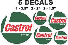 5 Round Castrol Racing Motor Oil Vinyl Decals