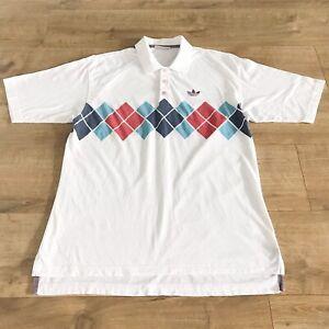 Adidas D48 F3 Mens Vintage White Borg Tennis Polo Shirt Size GB 38/40 (Medium)