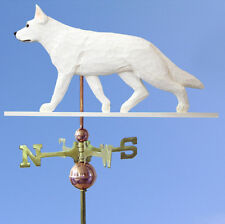German Shepherd Hand Carved Hand Painted Basswood Dog Weathervane White