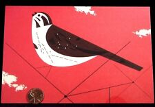 Sparrow Bird Brown Red Charley Harper Modernist  - Blank Greeting Note Card NEW