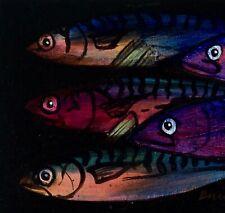 Caballa: pintura al óleo originales: Mar Pesca Pez arte por David Andrews