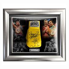 Signed Manny Pacquiao Freddie Roach & Buboy Fernandez Glove Display