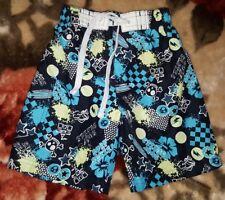 BOYS Sz 1 black white blue green TARGET board shorts COOL! ELASTIC WAIST! SKULLS