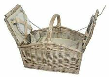 Wicker Willow Deluxe Retro Double Lidded Wicker Fitted 4 Person Picnic Basket