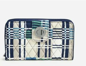 NWT Vera Bradley Turn Lock Wallet with RFID Protection Santiago Woven Signature