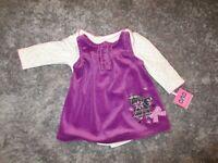 Miniville Baby Girls 2 Piece Plum Color Jumper Long Sleeve Bodysuit 6 Mo NWT NEW