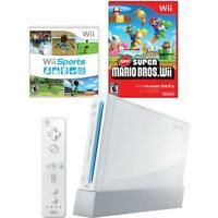 Nintendo Wii Console White Bundle Set New Super Mario Wii + Sports RVL-001