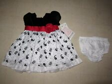 Bonnie Baby Formal Party Outfit Dress For Infant Whte/Black Sz 3-6  -  NWT $58