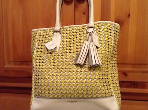 $898 COACH LEGACY WoVEN Leather CANING Tanner 23412 TOTE Yellow New