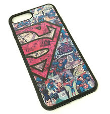for iPhone 7+ Plus - Hard TPU Rubber Case Cover Red Black Superman Comic Book