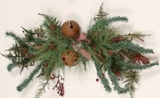 New Primitive Country Christmas RUSTY BELLS BOW BERRY SWAG Garland Wreath Bough