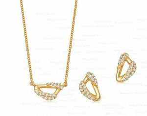 14K Gold 0.30 Ct. Genuine Diamond Sail Design Earring Necklace Fine Jewelry Set