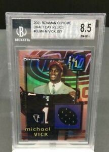 2001 Bowman Chrome Michael Vick Rookie RC Draft Day Jersey Relic Patch BGS 8.5!