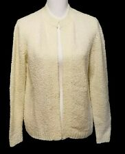 LeRoy Knitwear Women's Cream Open Textured Long Sleeve Cardigan Size Large - EUC