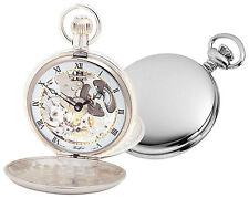 Woodford Sterling Silver Skeleton Pocket Watch, 1066,  Swiss-Made Twin-Lidded