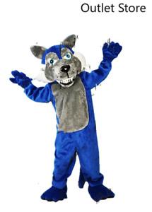 Halloween Cartoon Blue Wolf Mascot Costume Cosplay Party Dress Xmas Fursuit