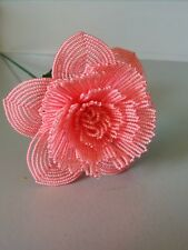 Handmade French beaded Flowers Large Peony flower neon pink color