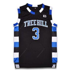 Lucas Scott #3 One Tree Hill Ravens Basketball Jersey Movie Sewn Black Size M