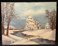 Vintage 1951 Original Oil Painting Board Winter Landscape Impasto Signed Fritzam