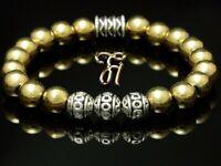 Hämatit gold Hematit Armband Bracelet Perlenarmband Silber Beads 8mm