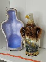VTG James Jim Beam Trophy Bourbon Whiskey Decanter Liquor Bottle Bald Eagle Foam