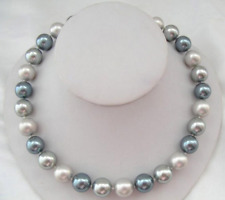 "18"" Stunning AAA+ 10-11mm real natural south sea multicolor pearl necklace 14K"