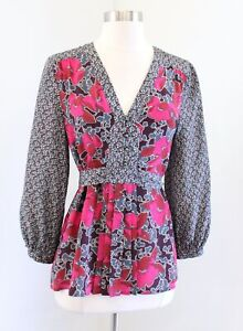 Edme and Esyllte Anthropologie Hirtella Floral Silk Tie Waist Top Blouse Size 4