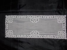 HERITAGE LACE WHITE BATTENBURG (2) TABLE RUNNERS NWOT ERRORS MATERIAL ONLY 8094