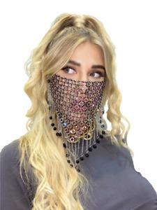 Women's Girls Pretty Rhinestone Mask Mesh Jewelry Metal Tassel Face Mask