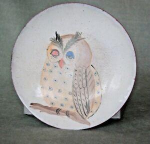 Vintage MCM enamel on copper BLINKING OWL Roz Greenberg Limoges, signed