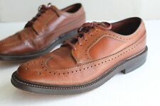 Vintage Hanover Wingtip Men's Shoes Brown Leather. US Size 8.5 D USA Made.