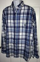 Chaps Ralph Lauren L/S Shirt Button Front Blue White Plaid Sz LARGE EUC