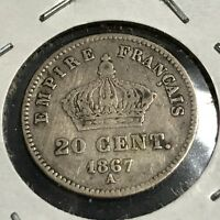 1867-A FRANCE SILVER 20 CENTIMES BETTER GRADE