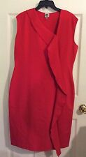 Anne Klein Petite Size 14P Red Dress, Sleeveless With Front Ruffle. New With Tag