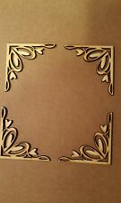 IN LEGNO LASER CUT angolo abbellimento floreale VINTAGE SCRAPBOOKING