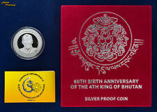 2015 BHUTAN 500 NGULTRUM 4th KING JIGME 60th BIRTH SILVER PROOF COIN LOW MINTAGE
